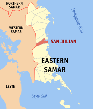 Map of Eastern Samar showing the location of San Julian
