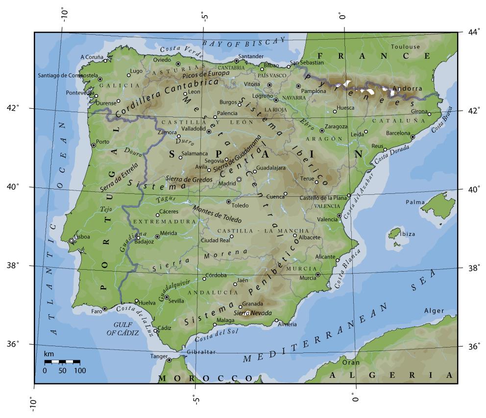 Carte Espagne Topographique.Peninsule Iberique Wikipedia
