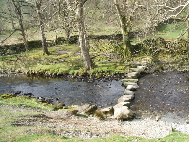 Stepping stones over Easedale Beck - geograph.org.uk - 766045