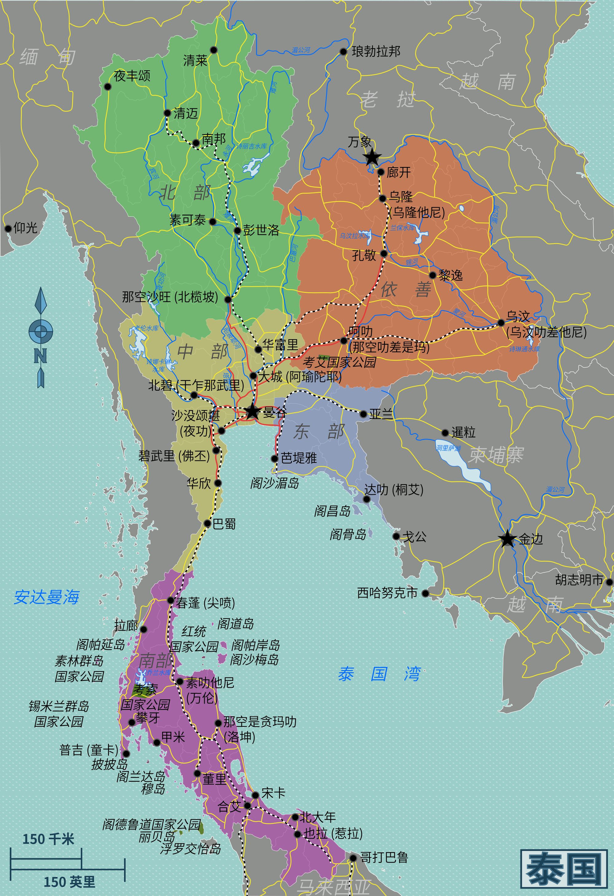 FileThailand Regions Map Zhhanspng Wikimedia Commons - Thailand regions map