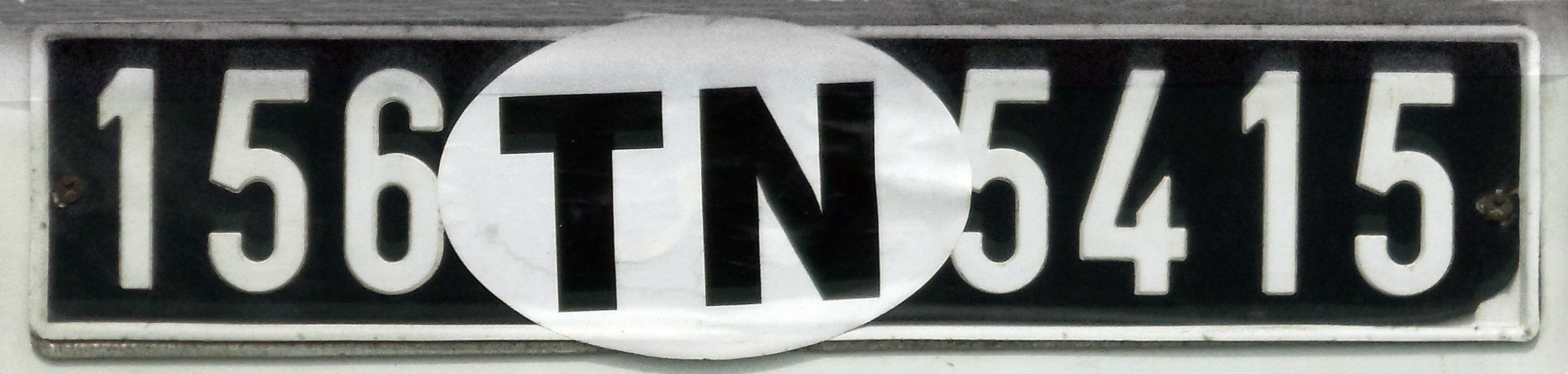 File:Tunisian license plate with TN international vehicle ...