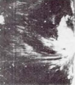 Oblique satellite view of a developing tropical cyclone