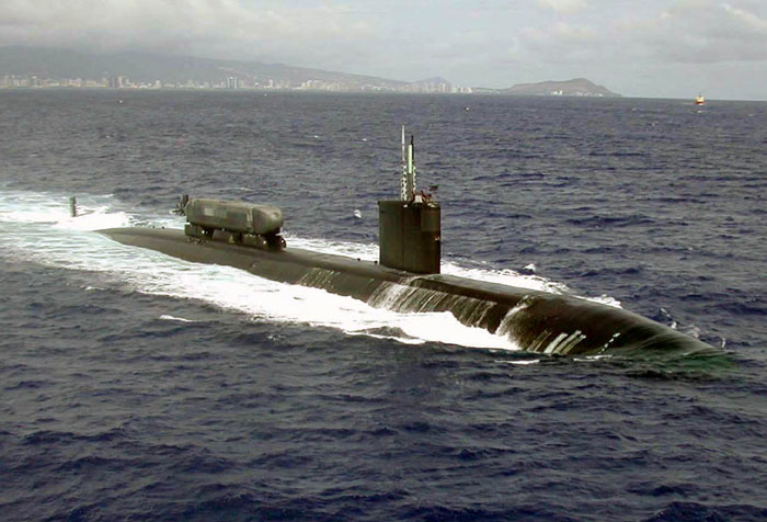 The USS Greeneville, a Los Angeles-class fast attack submarine (public domain photo courtesy of Wikipedia)