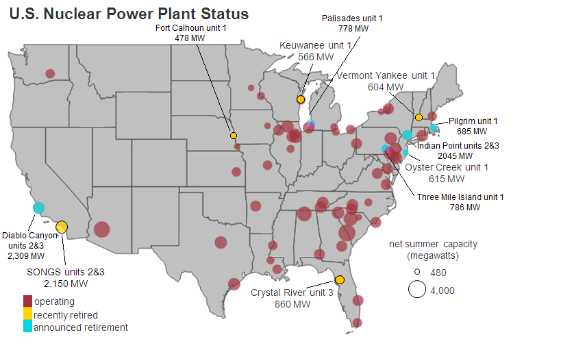 List Of The Largest Nuclear Power Stations In The United States - Map nuclear power plants in us