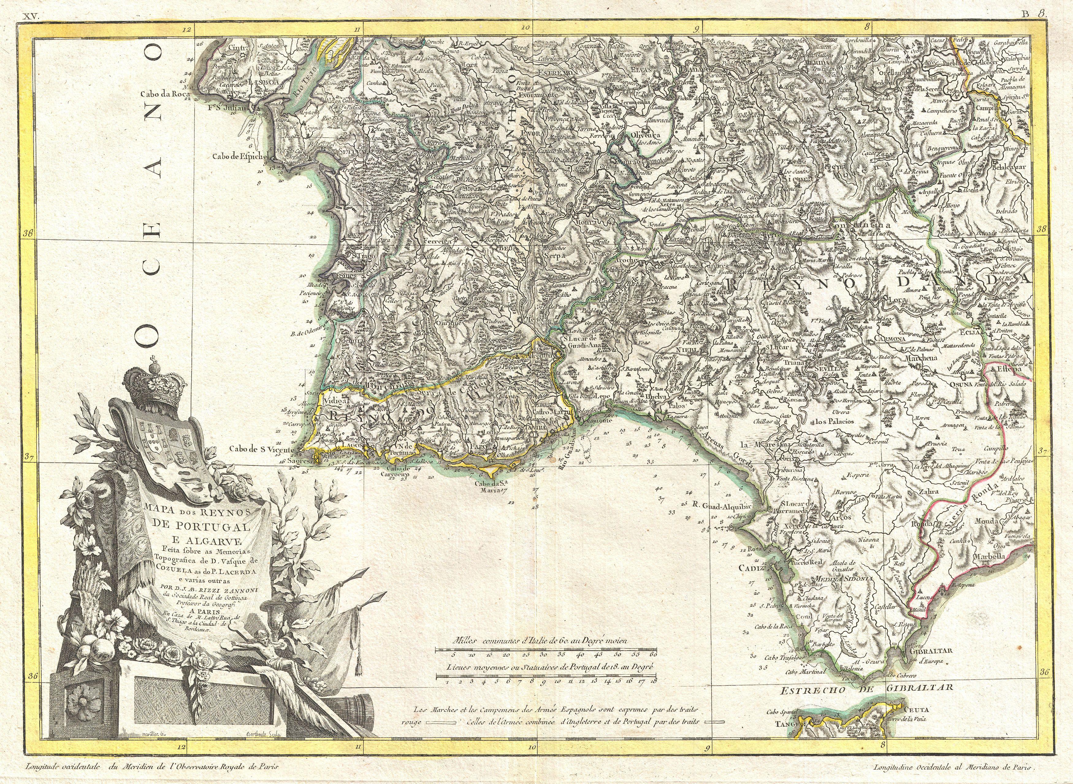 File:1775 Zannoni Map of Southern Portugal, the Algarve, and Seville ...