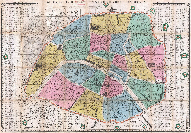 File1863 Henriot Pocket Map Of Paris France