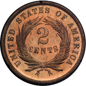 1870 two cents rev
