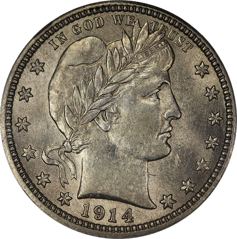 File:1914 Barber Quarter NGC AU58 Obverse.png - Wikimedia Commons