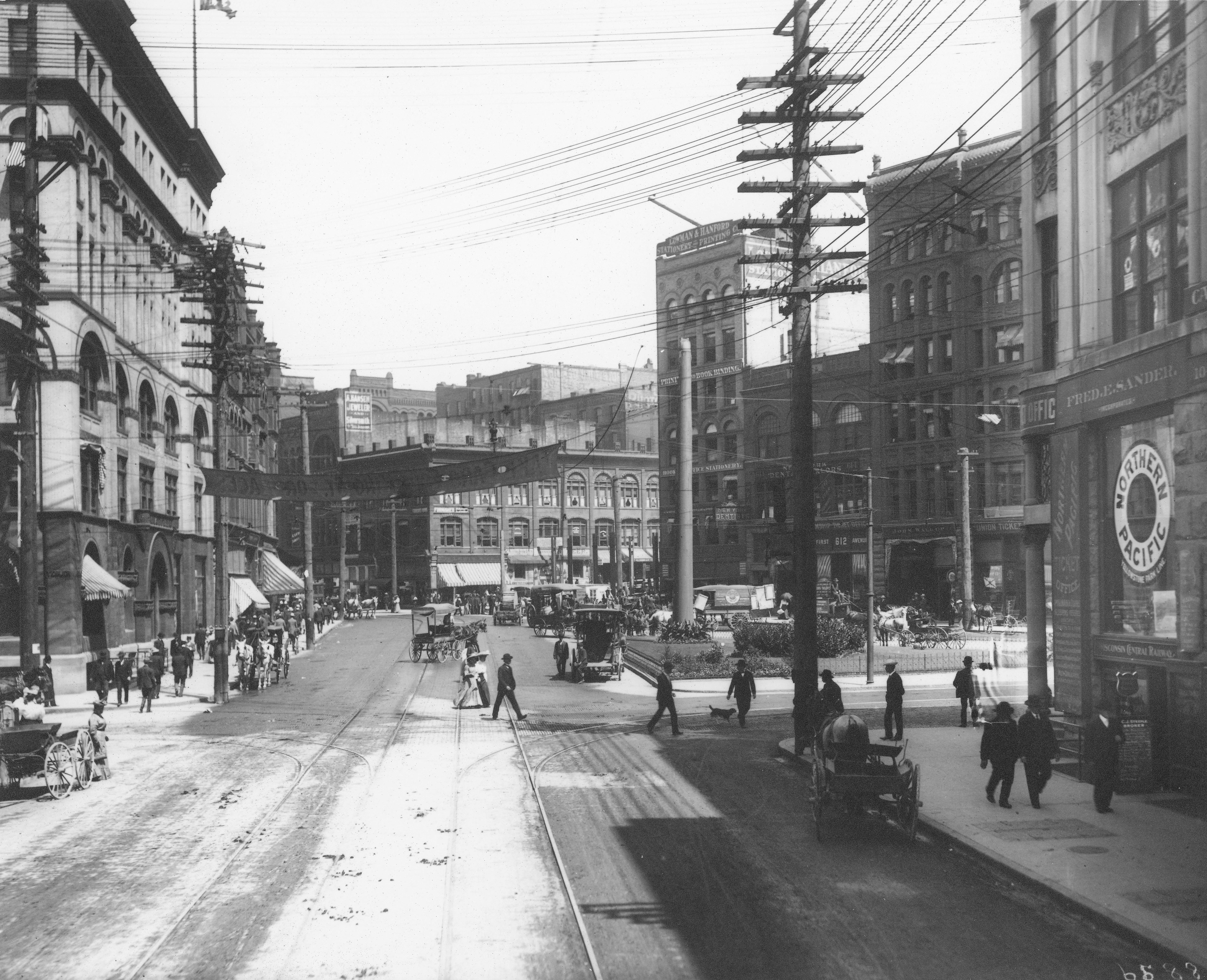 Black and White photo of Pioneer Square at the turn of the century