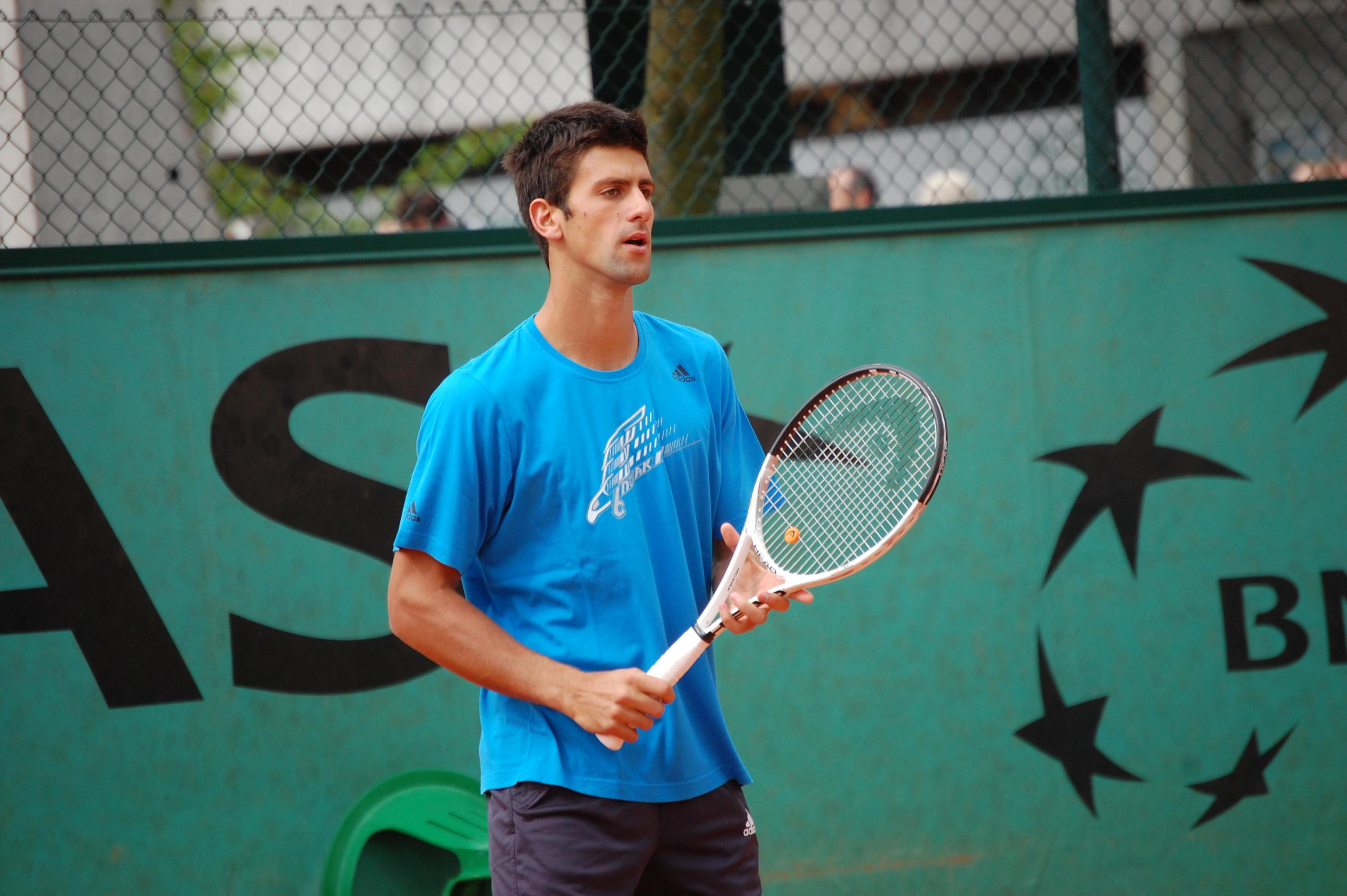 Novak Djokovic en una sesión de entrenamiento
