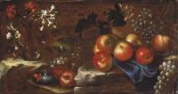 Still life with apples, raisins, and flowers. Oil on canvas, 44.50 x 81.50 cm. Aldrovandini tommaso-nature morte aux pommes raisins et fl~200~10157 20071121 5479 315.jpg