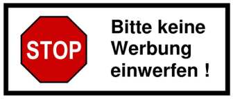 bitte keine werbung sticker where are they obtainable english forum switzerland. Black Bedroom Furniture Sets. Home Design Ideas