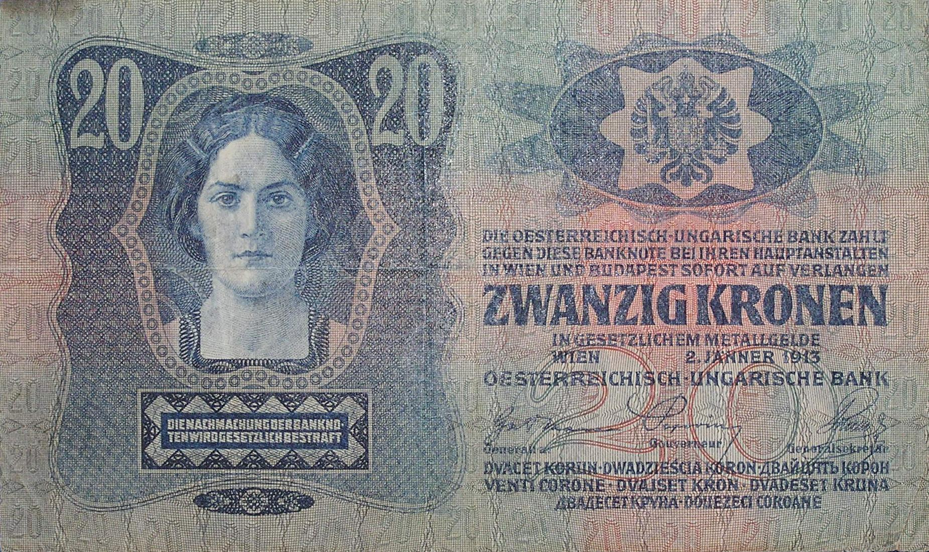 A 20 crown banknote of the Dual Monarchy