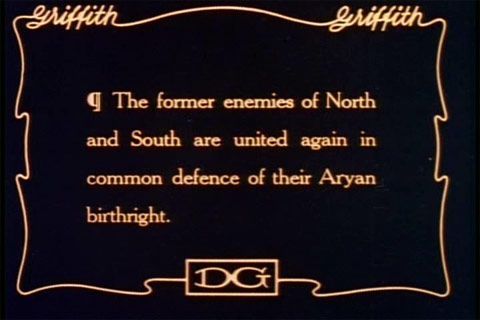 "An intertitle from the silent film blockbuster The Birth of a Nation (1915). ""Aryan birthright"" is here ""white birthright"", the ""defense"" of which unites ""whites"" in the Northern and Southern U.S. against ""coloreds"". In another film of the same year, The Aryan, William S. Hart's ""Aryan"" identity is defined in distinction from other peoples. Birth of a nation Aryan quote.jpg"