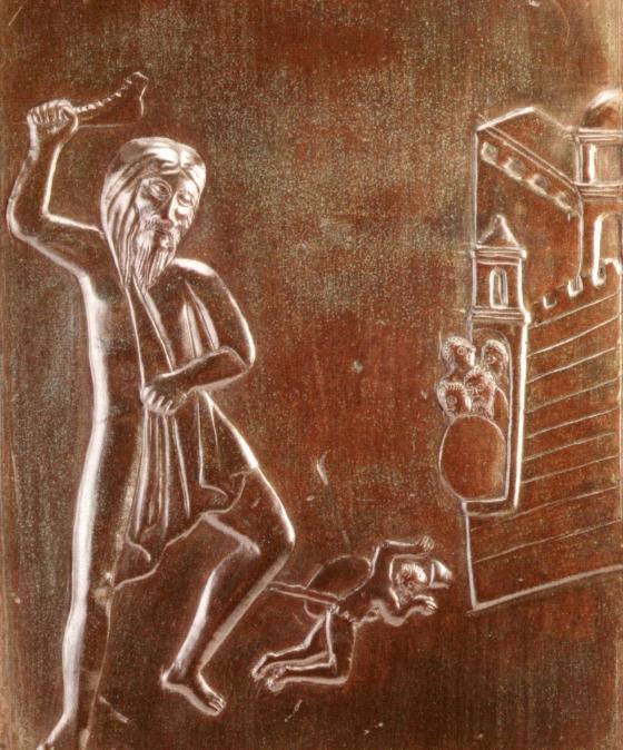 Bronzetür des Augsburger Domes, Samson kämpft gegen die Philister, 11. Jahrh.