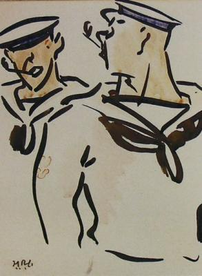 Francis Cadell: Two sailors; ink and watercolo...
