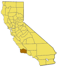 Map of California highlighting Santa Barbara County