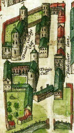 1575 map showing the King's Hall (top left) and Michaelhouse (top right) buildings before Thomas Nevile's reconstruction. Cambridge 1575 colour Trinity College.jpg