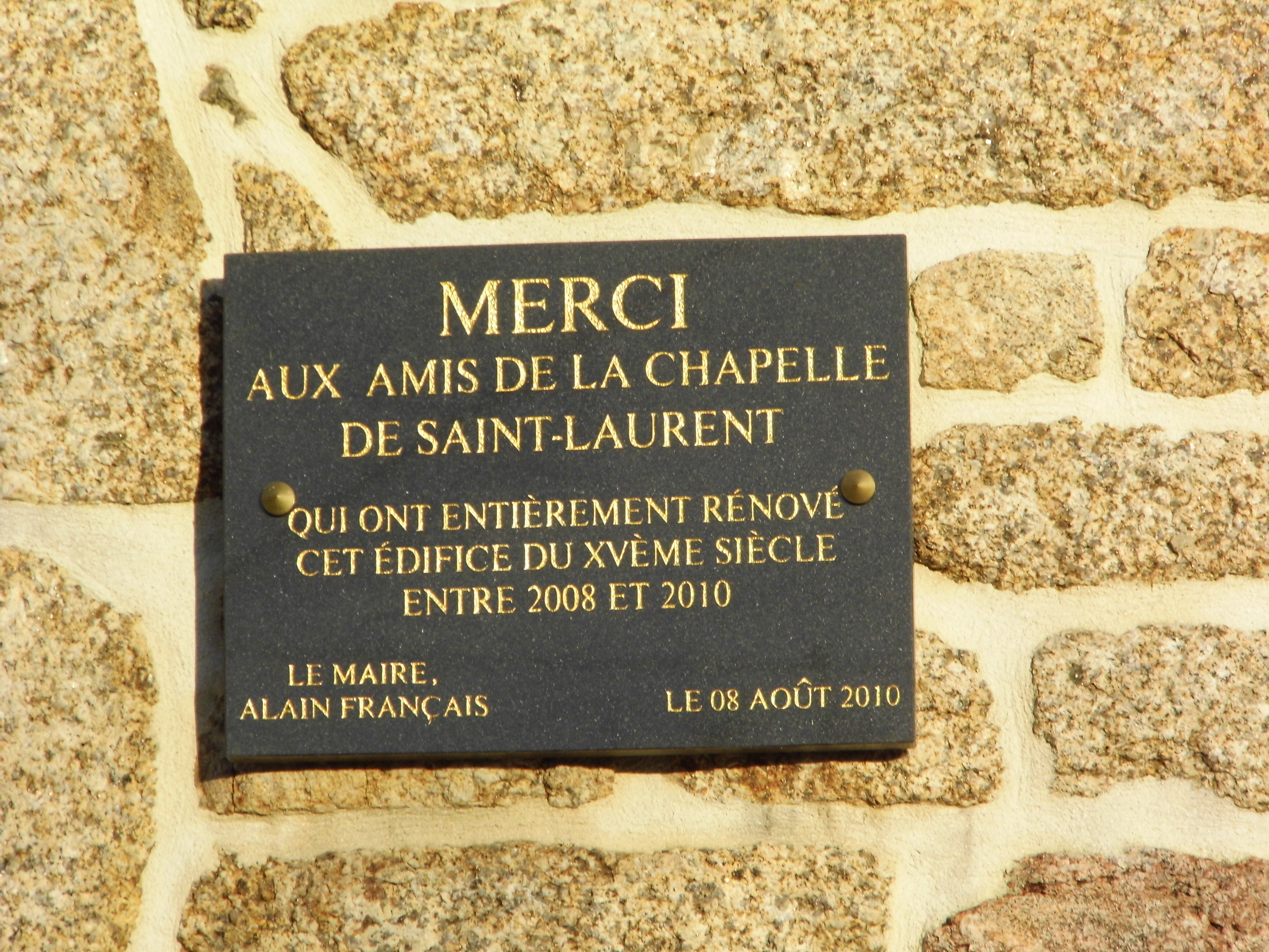File chapelle saint laurent de pl my plaque de remerciement jpg wikimedia - Plaque de melamine a coller ...