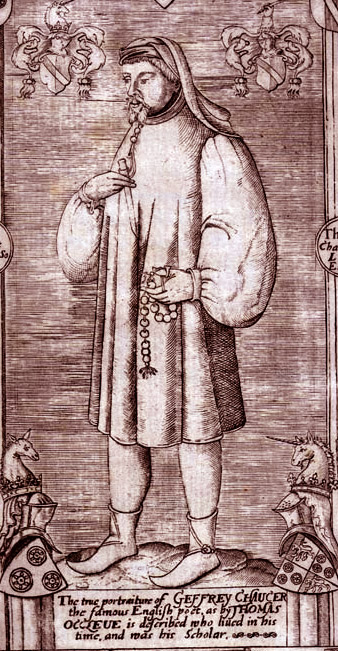 "Engraving of Chaucer from Speght's edition. The two top shields display: Per pale argent and gules, a bend counterchanged (Chaucer), that at bottom left: Gules, three Catherine Wheels or (Roet, canting arms, French rouet = ""spinning wheel""), and that at bottom right displays Roet quartering Argent, a chief gules overall a lion rampant double queued or (Chaucer) with crest of Chaucer above: A unicorn head Chaucer 1602.jpg"
