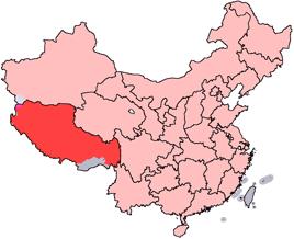 Tibets läge i Kina.
