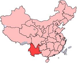 Yunnan is highlighted on this map