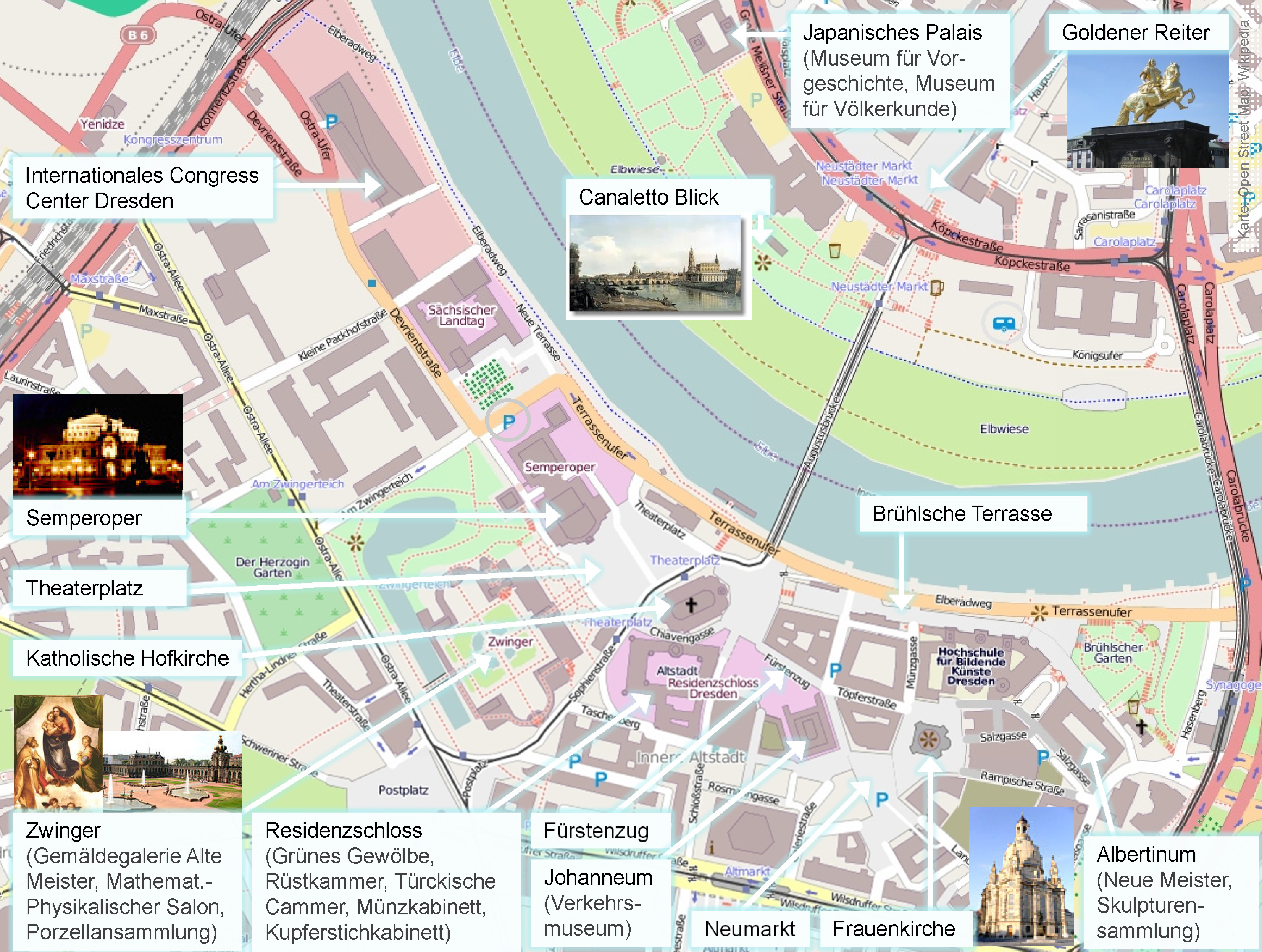 Sehenswürdigkeiten im historischen Zentrum von Dresden