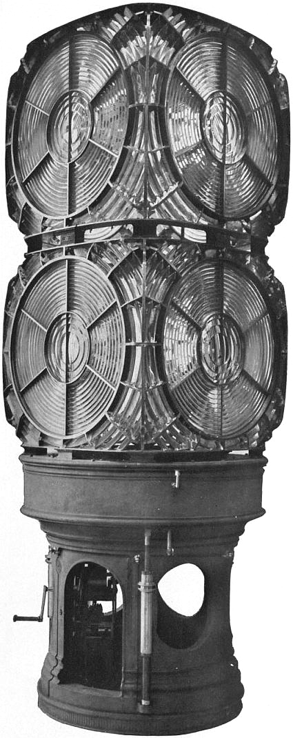 EB1911 - Lighthouse - Fig. 54.—Fastnet Lighthouse—First order single-flashing biform apparatus.jpg
