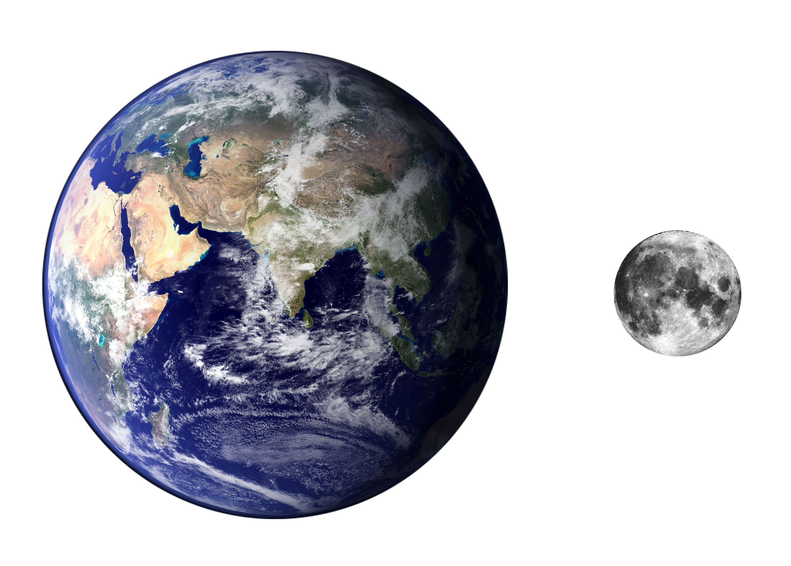 Earth and Moon Same Size - Pics about space