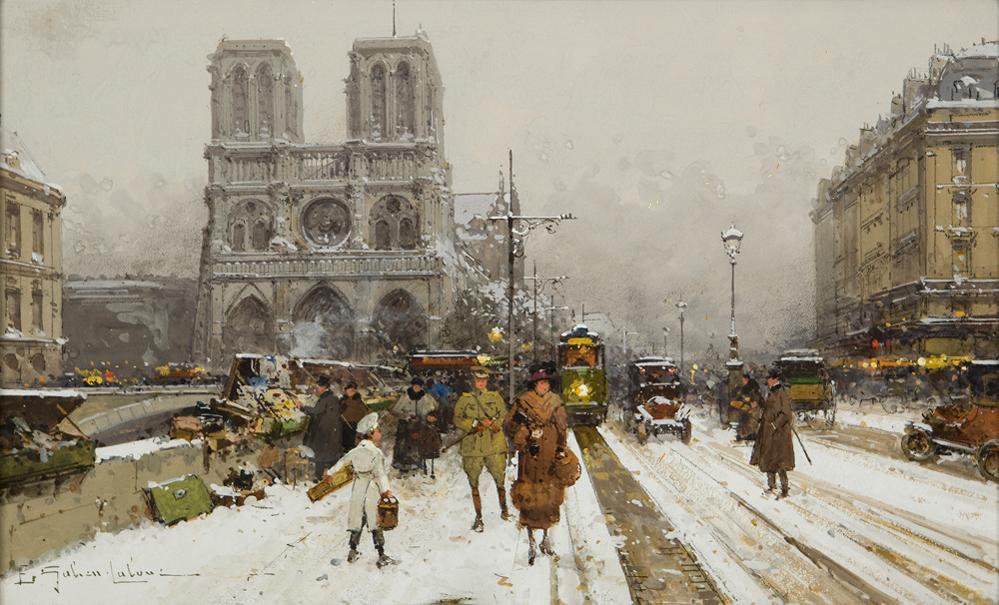 Galien-Laloue Eugène, Notre-Dame sous la neige 01