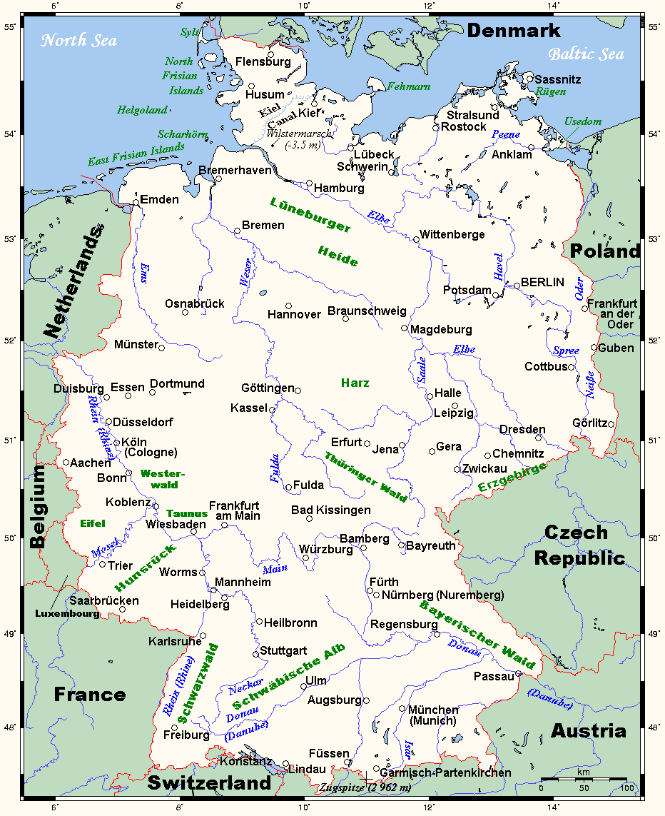 FileGermanymap2png Wikimedia Commons – Map of Germany Showing Rivers