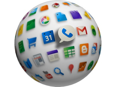 Image of a globe with Google App icons