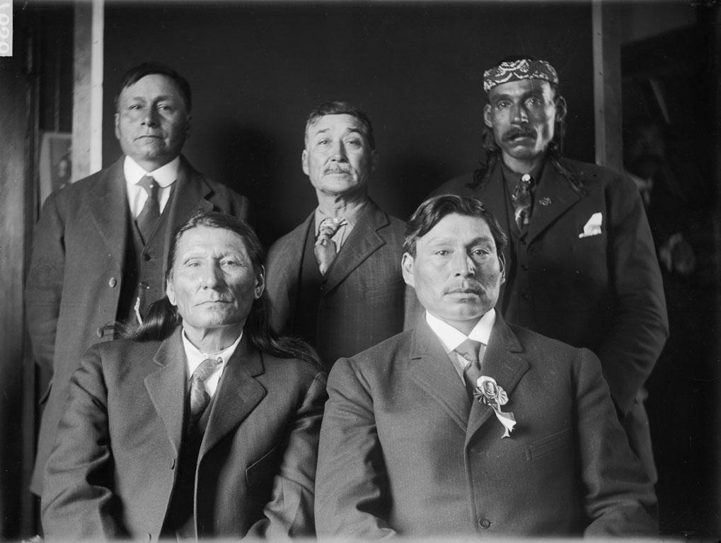 William Penn (Cherokee), His Shield (Yanktonai), Levi Big Eagle (Yanktonai), Bear Ghost (Yanktonai) and Black Moustache (Sisseton).
