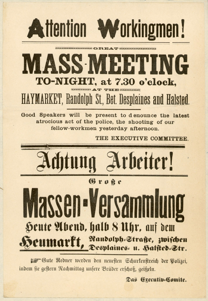 English/German Pamphlet Supporting Striking Workers, Chicago, May 4, 1886