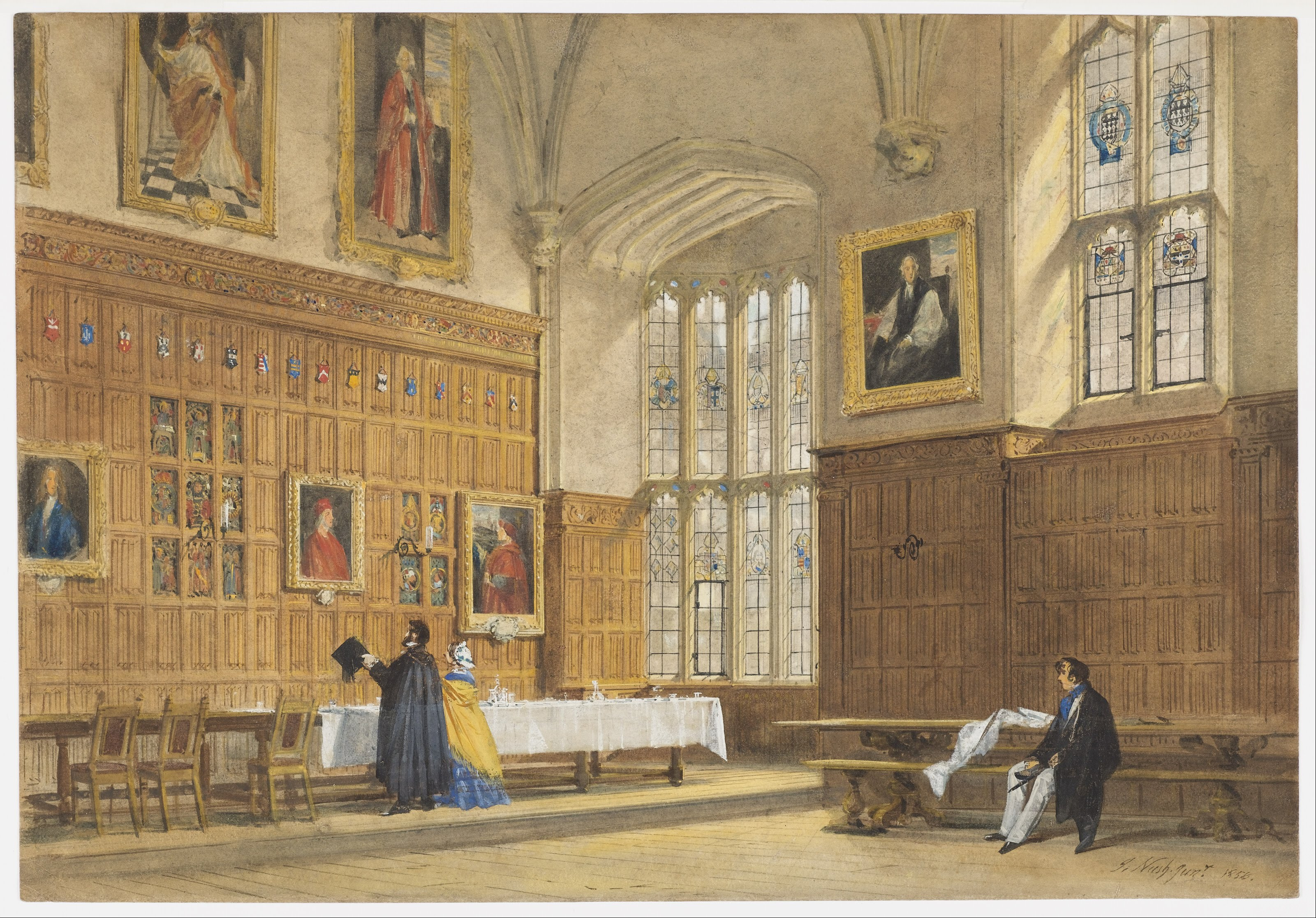 File Joseph Nash The Elder View Of The Dining Hall In Magdalen College Oxford Google Art