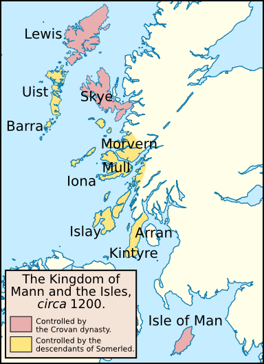 The Suðreyjar in about 1200: the lands of the Crovan dynasty and the descendants of Somerled. - Kingdom of the Isles