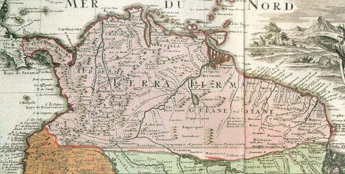 Old map of Tierra Firme, showing the initial divisions of the region Map New Kingdom of Granada.jpg
