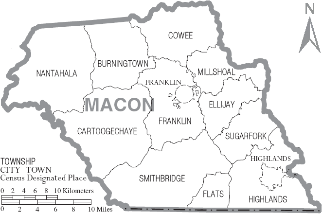 FileMap of Macon County North Carolina With Municipal and Township