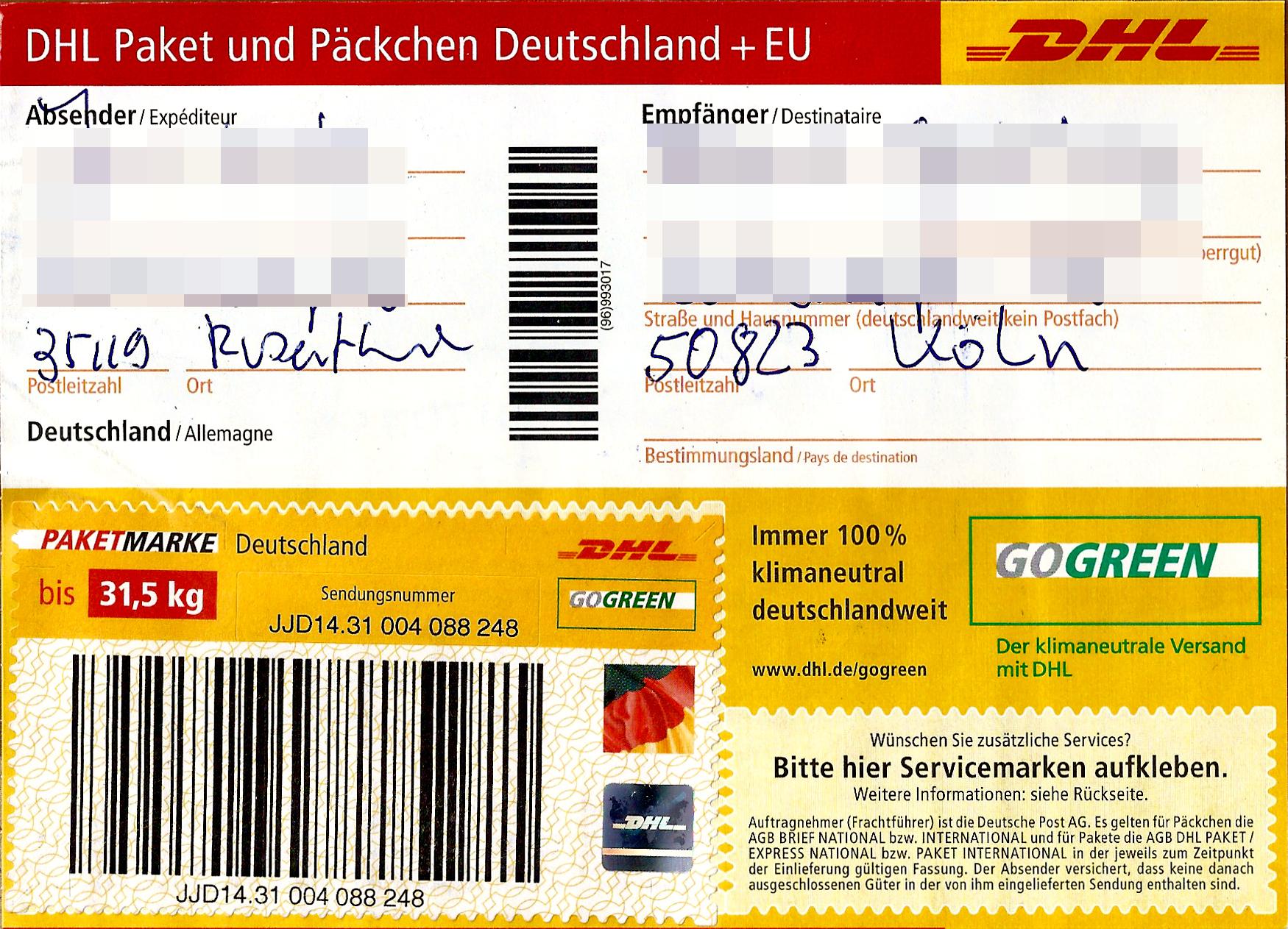 file paketaufkleber dhl paket mit paketmarke bis 31 5 kg