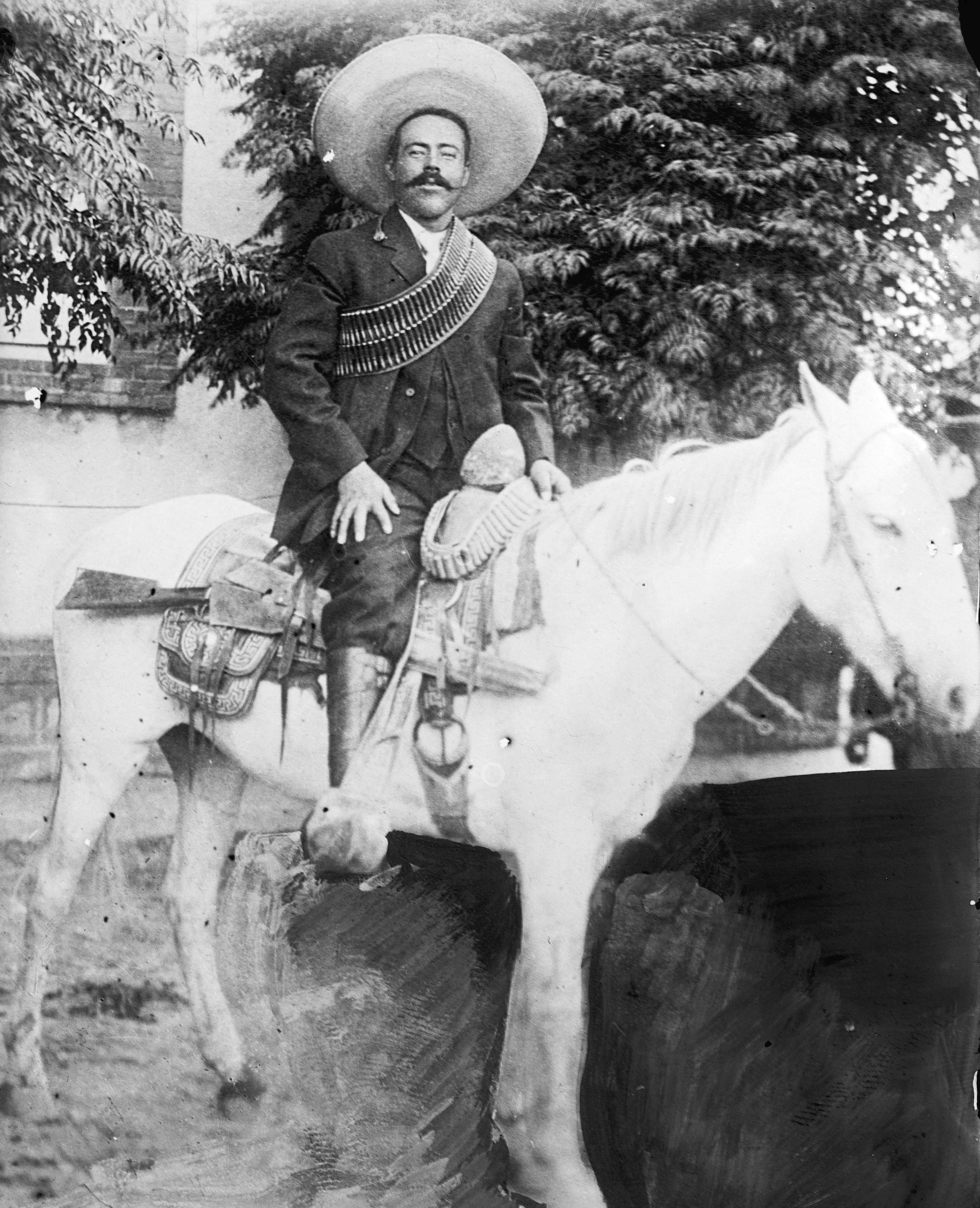 Pancho Villa on horseback (undated photo, between 1908 and 1919)