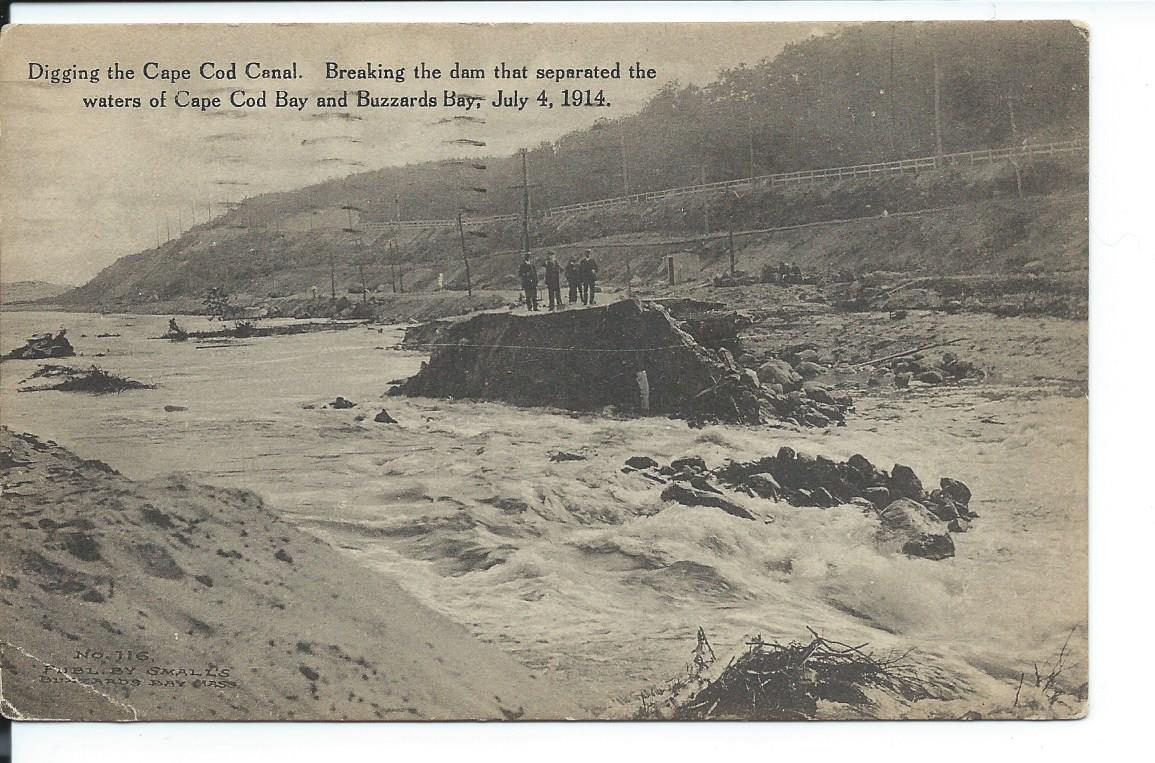 Cape Cod September Part - 17: File:Postcard View Of Breaking The Dam Of The Cape Cod Canal, July 1914