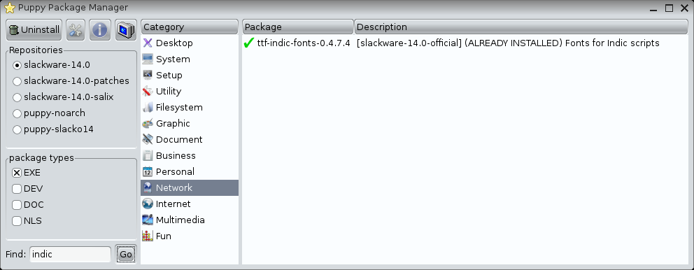 Puppy Package Manager showing indic fonts package from Slackware 14.0 is already installed on Slacko Puppy Linux