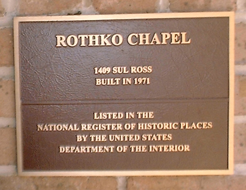 Mark Rothko Chapel. File:Rothko chapel sign.jpg