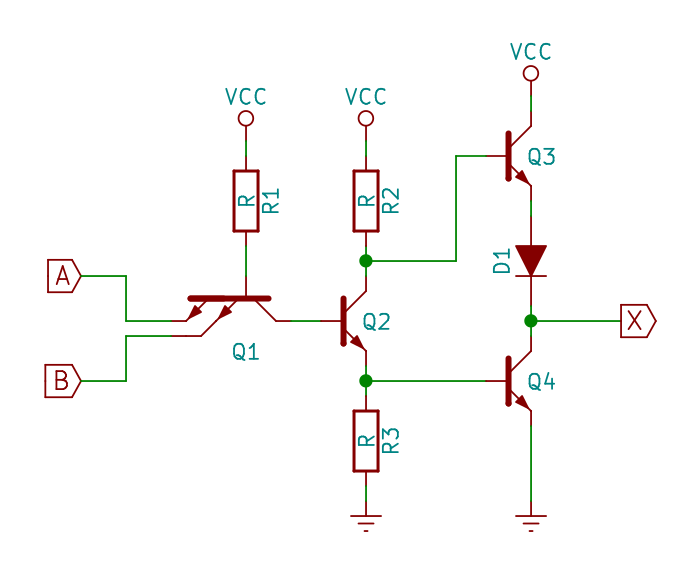 Simple TTL NAND gate, showing totem-pole output