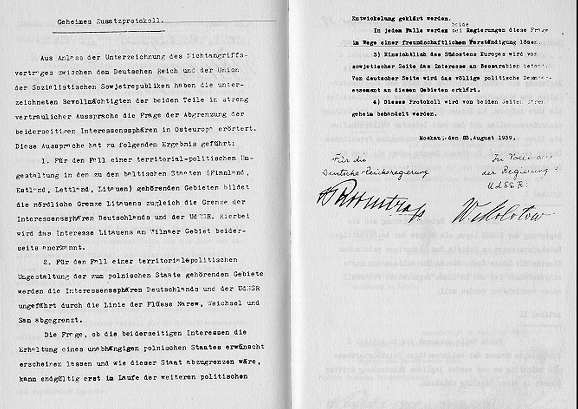 Geheimes Zusatzprotokoll zum deutsch-sowjetischen Nichtangriffspakt von 1939