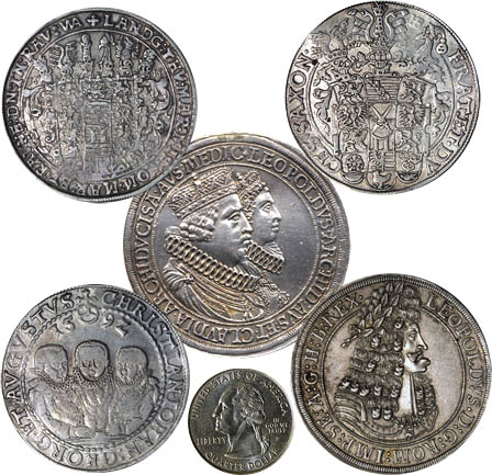 Examples of German and Austrian Thalers compared to a U.S. quarter (bottom center)