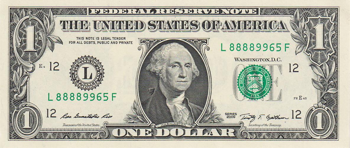 Купюра в 1 доллар сколько стоит манета 20 тийин с точками на реверсе