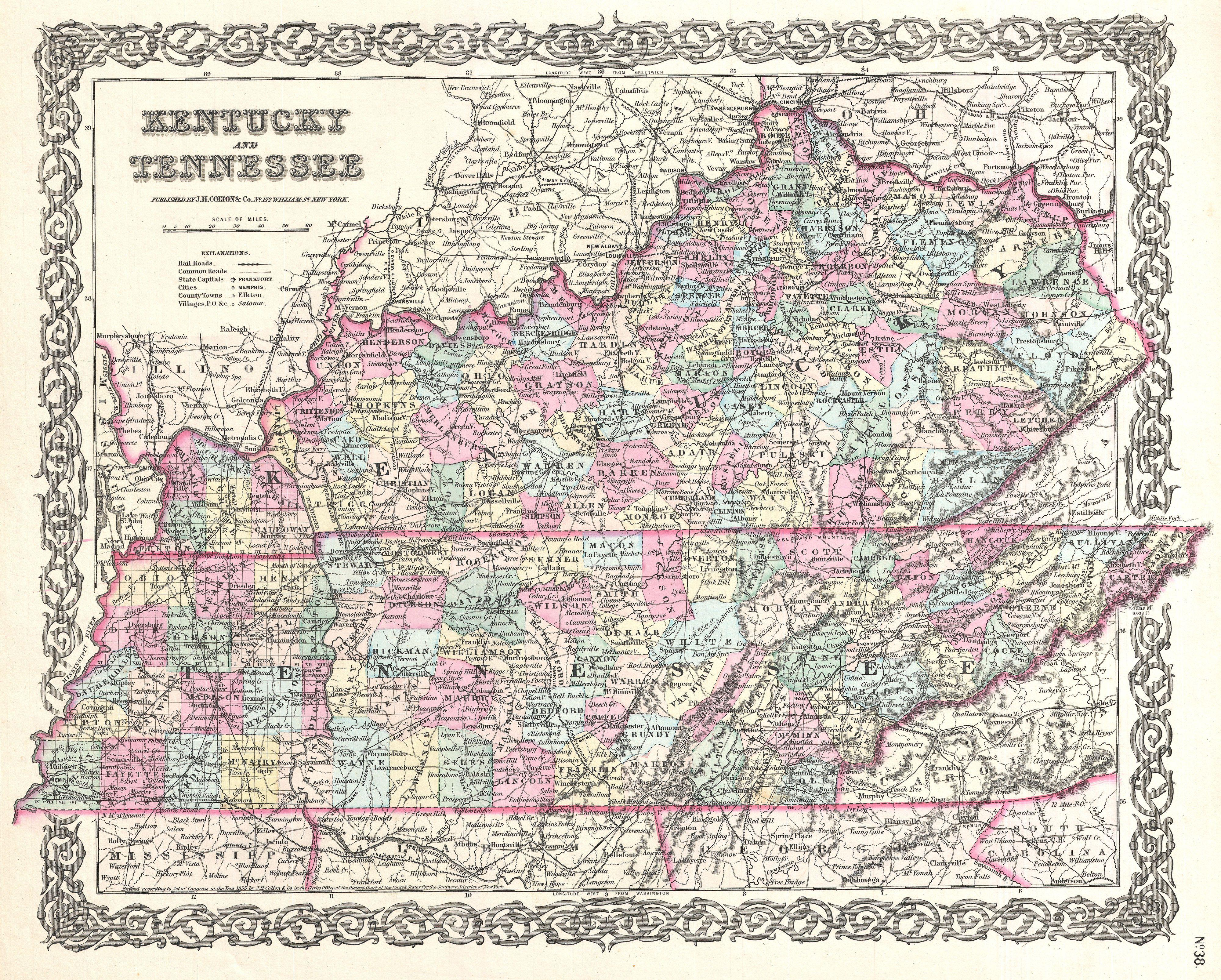 File Colton Map Of Kentucky And Tennessee Geographicus - Kentucky state map with cities