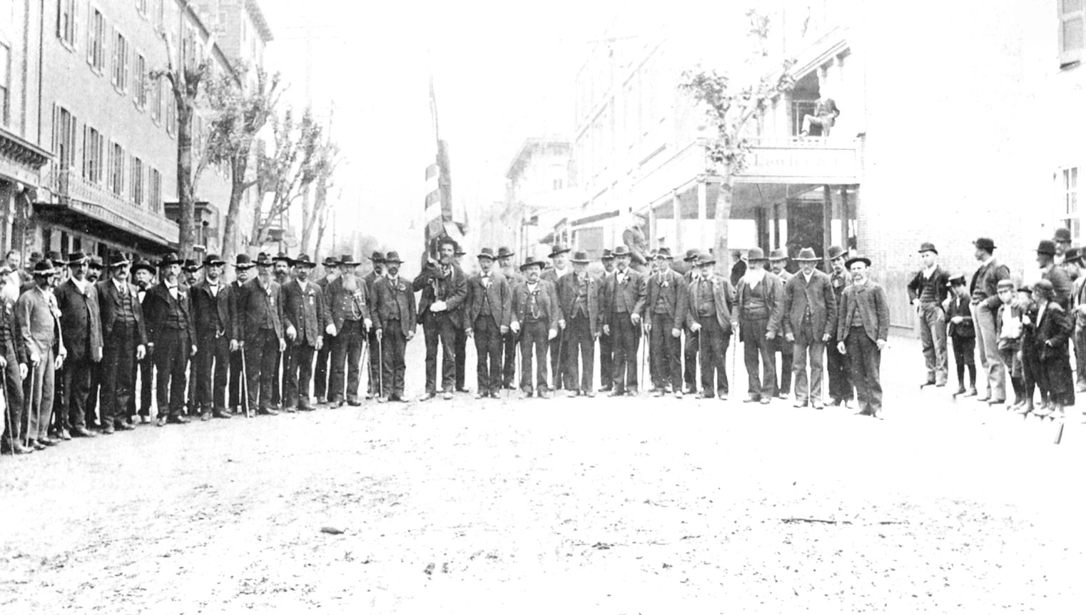 Surviving members of the 47th Pennsylvania Infantry at their annual  reunion, 1887.