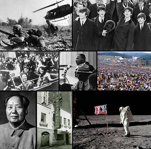 Top, L-R: A soldier crawls on the ground during the Vietnam War; The Beatles, part of the British Invasion, change music in the United States and around the world. Centre, L-R: John F. Kennedy is assassinated in 1963, after serving as President for three years; Martin Luther King Jr. makes his famous I Have a Dream Speech to a crowd of over a million; millions participate in the Woodstock Festival of 1969. Bottom, L-R: China's Mao Zedong puts forward the Great Leap Forward plan; the Stonewall Inn, site of major demonstrations for gay and lesbian rights; for the first time in history, a human being sets foot on the Moon, in the Moon landing of July 1969. - 1960s